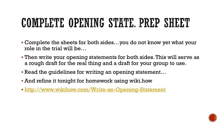 Complete opening state. Prep sheet