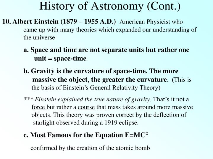 History of Astronomy (Cont.)