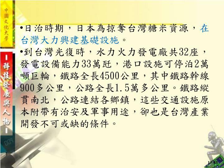 日治時期,日本為掠奪台灣糖米資源,