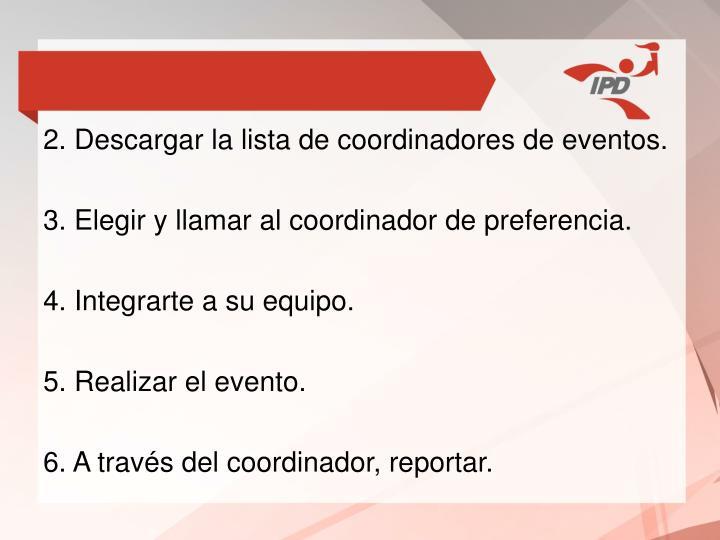 2. Descargar la lista de coordinadores de eventos.
