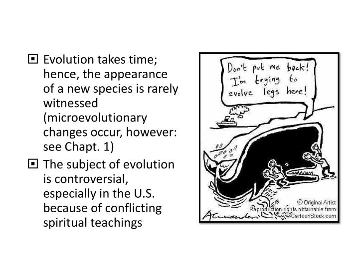 Evolution takes time; hence, the appearance of a new species is rarely witnessed (