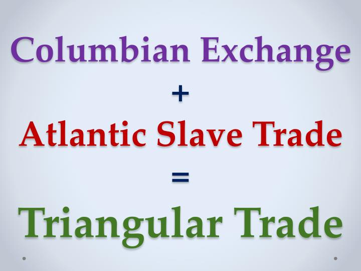 the columbian exchange and transatlantic slave Study flashcards on connecting the columbian exchange and the transatlantic slave trade at cramcom quickly memorize the terms, phrases and much more cramcom makes it easy to get the grade you want.