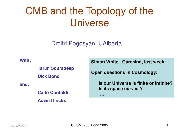 Cmb and the topology of the universe