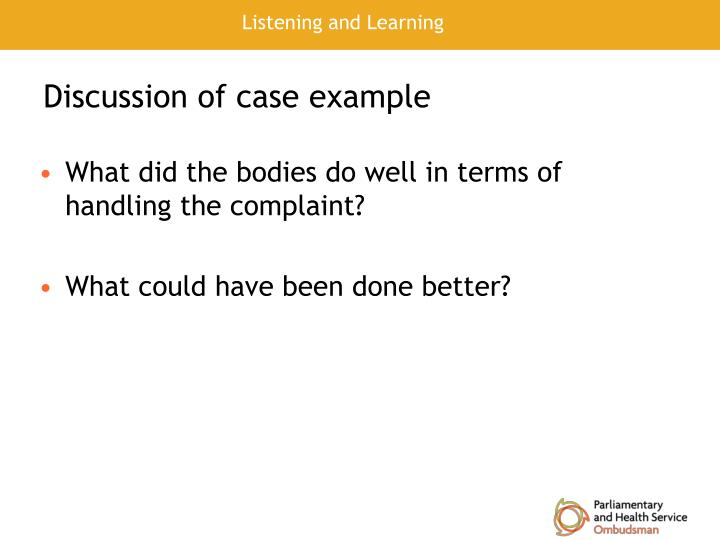 Discussion of case example