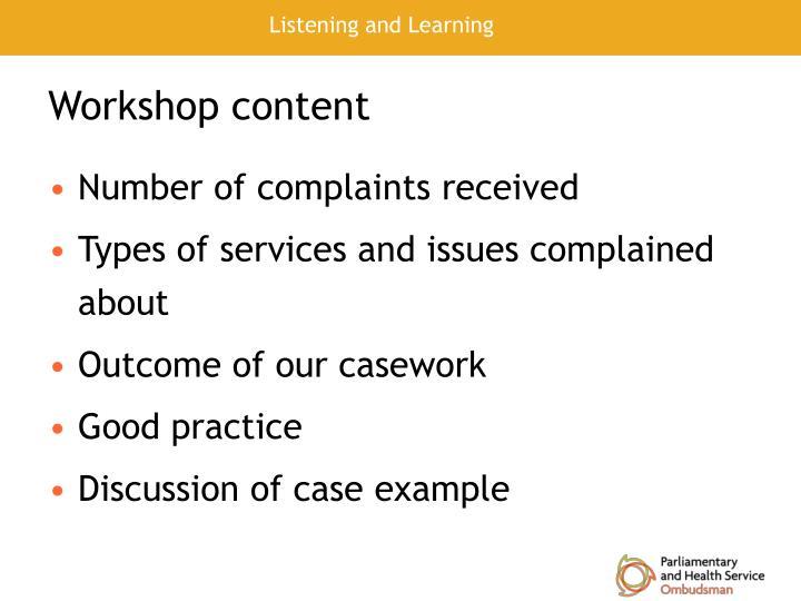 Workshop content