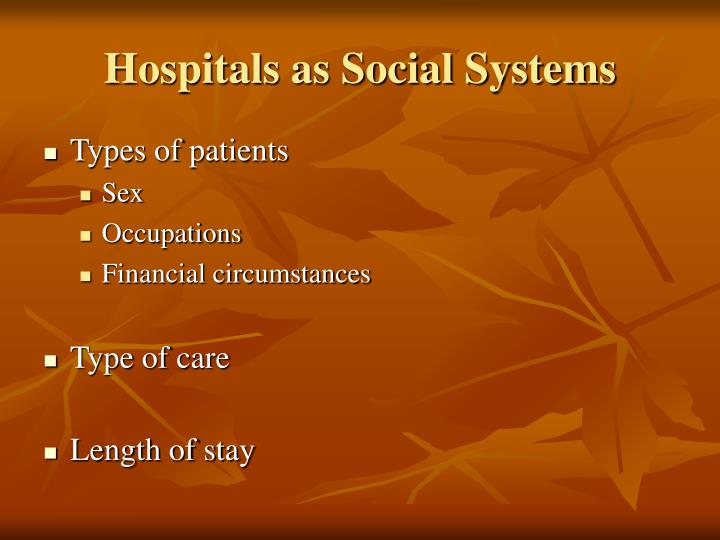 Hospitals as Social Systems