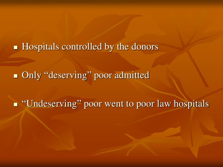 Hospitals controlled by the donors