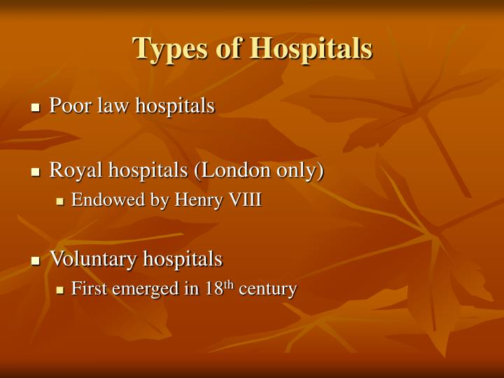 Types of Hospitals