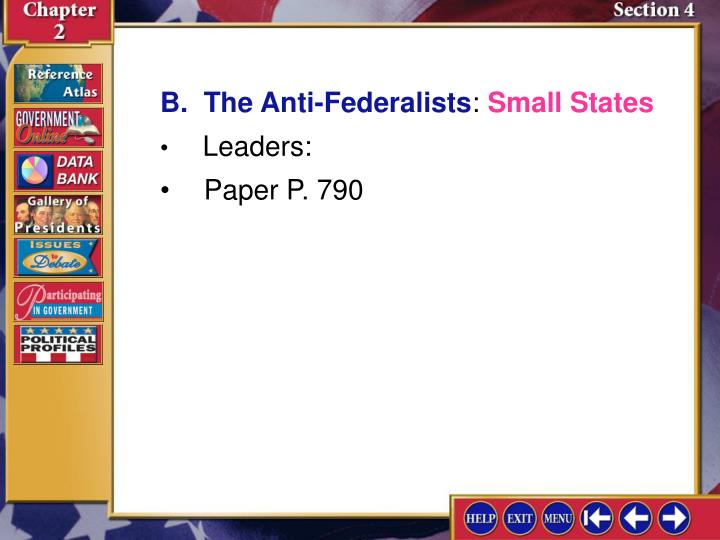 B.  The Anti-Federalists