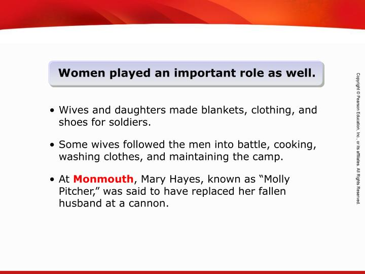 Women played an important role as well.