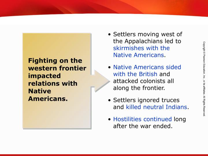 Settlers moving west of the Appalachians led to
