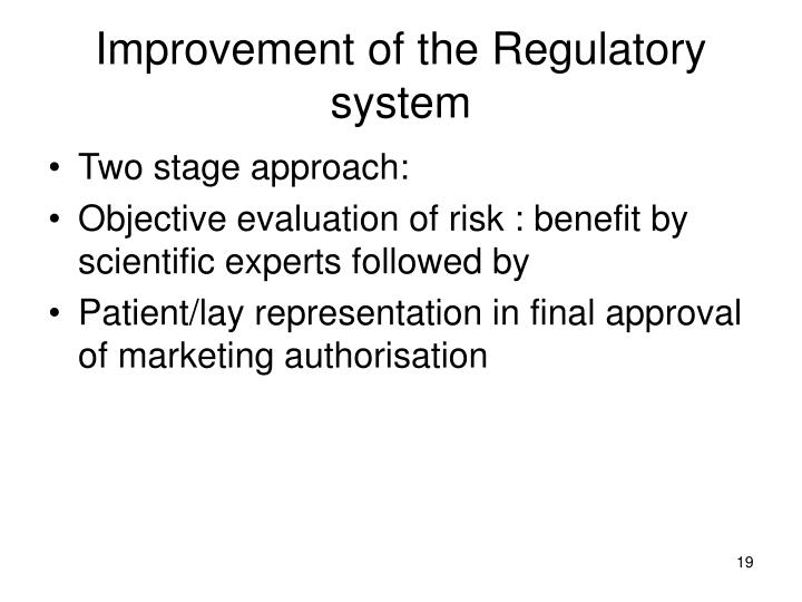 Improvement of the Regulatory system