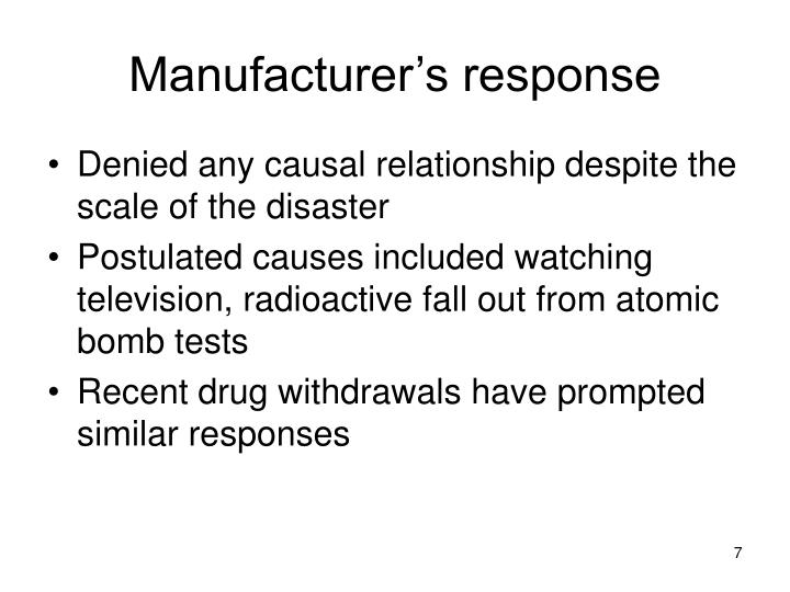 Manufacturer's response