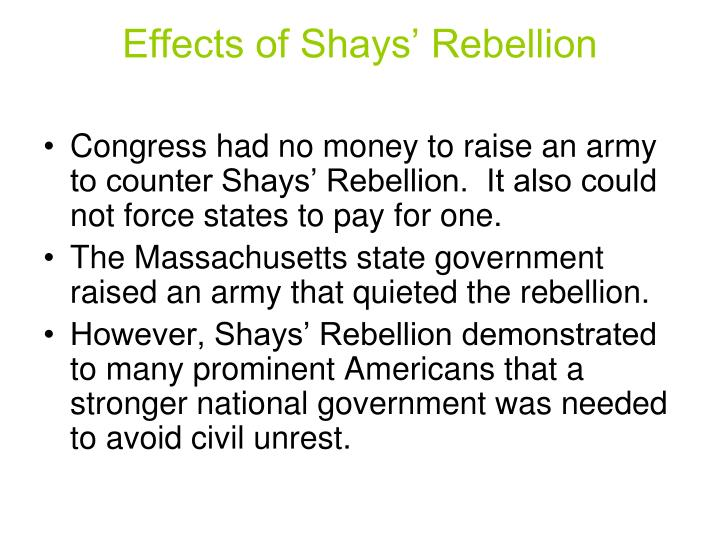 Effects of Shays' Rebellion