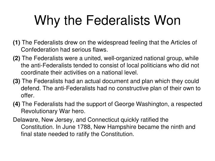 Why the Federalists Won