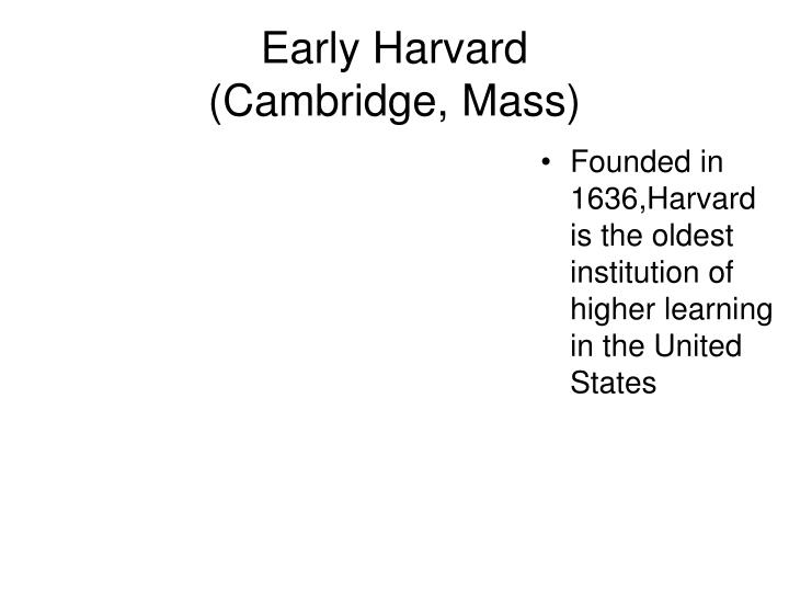 Early harvard cambridge mass