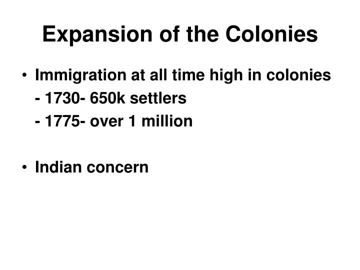 Expansion of the Colonies