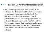 lack of government representation