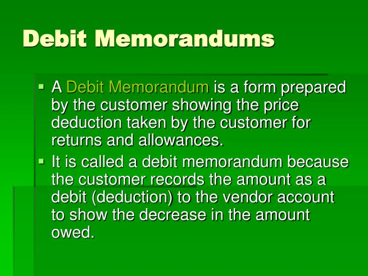 Debit Memorandums