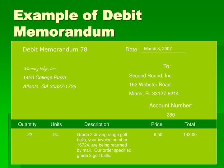 Example of Debit Memorandum