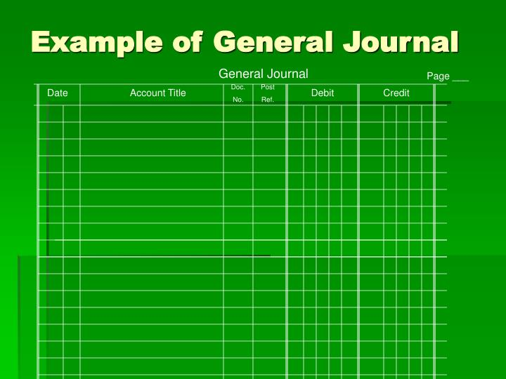 Example of general journal