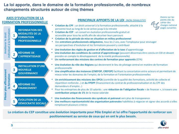 La loi apporte, dans le domaine de la formation professionnelle, de nombreux changements structurés autour de cinq thèmes