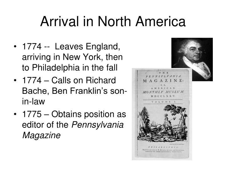 Arrival in North America