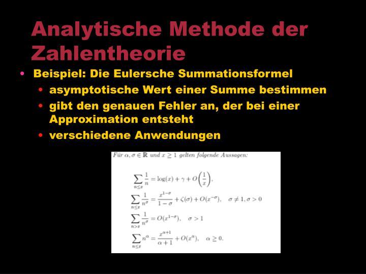 Analytische Methode der Zahlentheorie