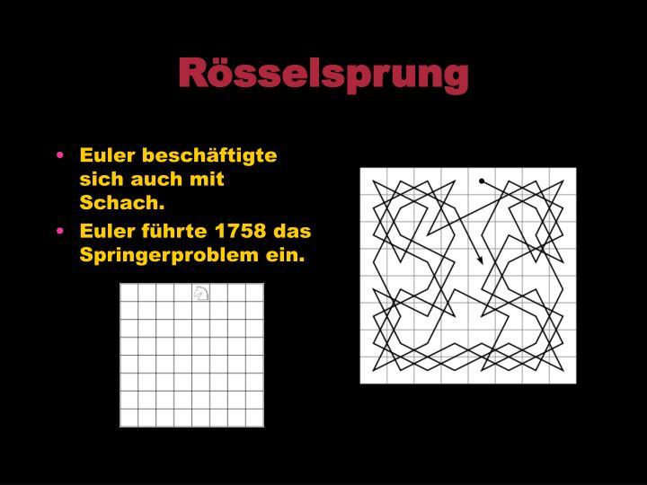 Euler beschäftigte sich auch mit Schach.