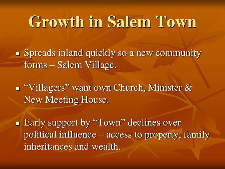Growth in salem town