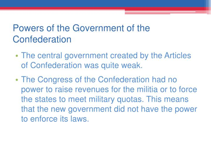 Powers of the Government of the Confederation