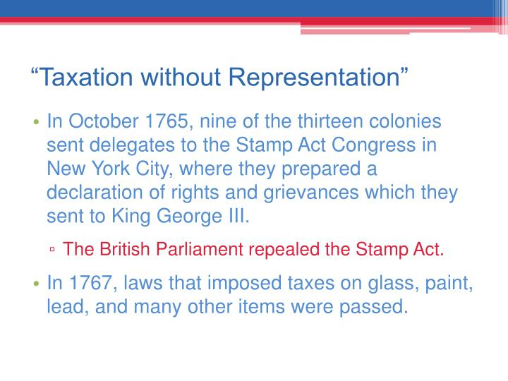 """Taxation without Representation"""