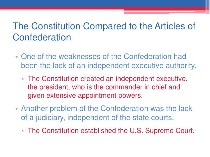 The Constitution Compared to the Articles of Confederation