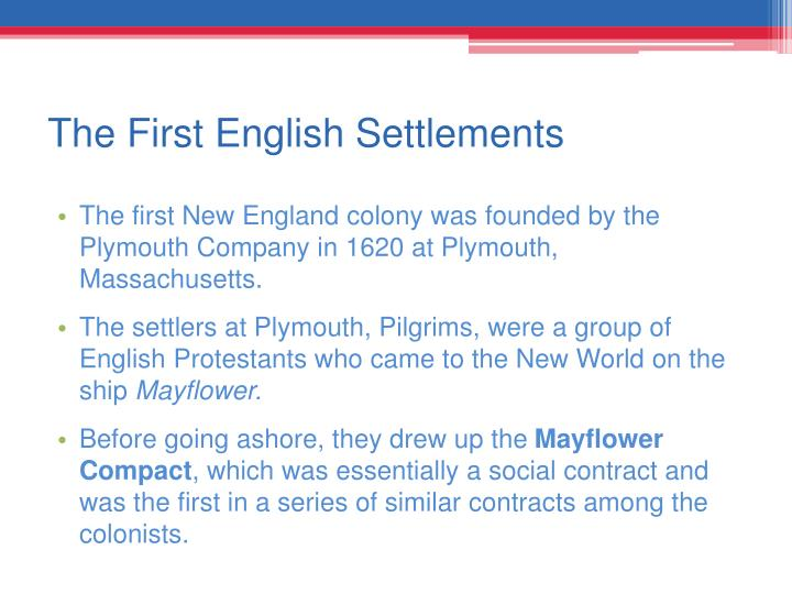 The First English Settlements