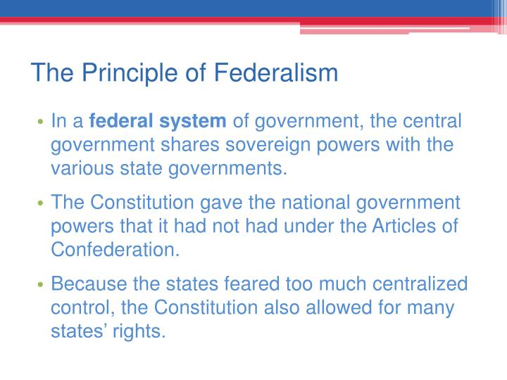 The Principle of Federalism