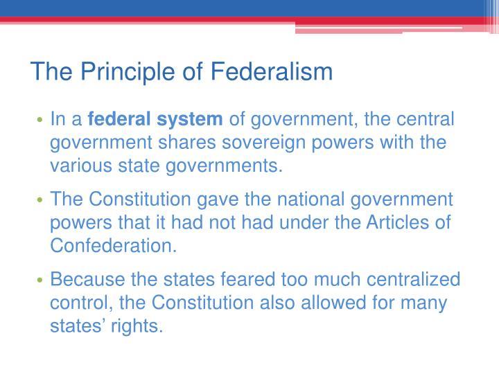 The Principle of Federalism