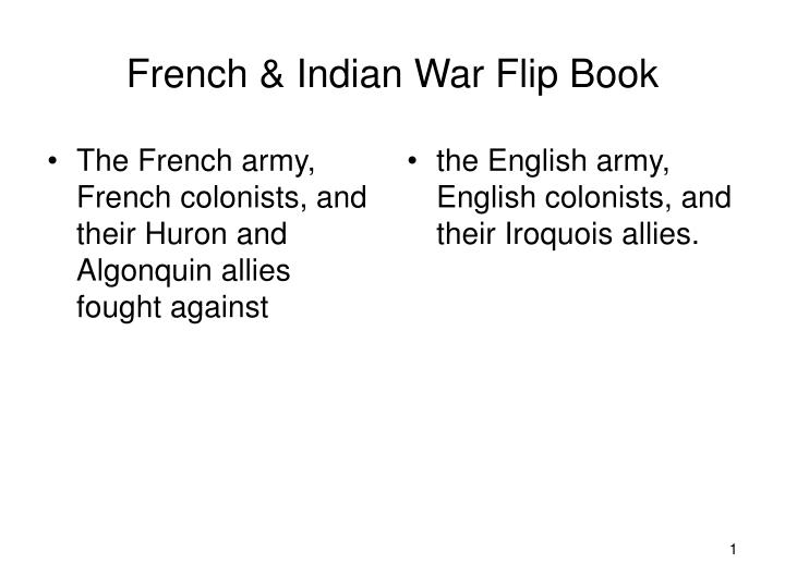 French indian war flip book