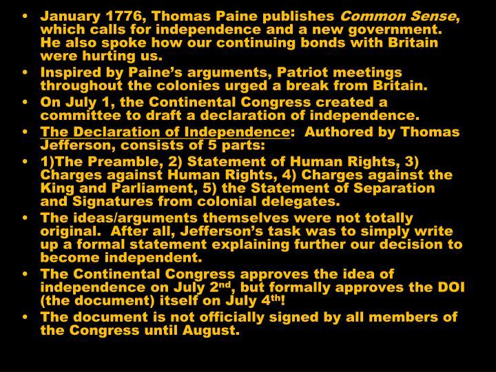 January 1776, Thomas Paine publishes