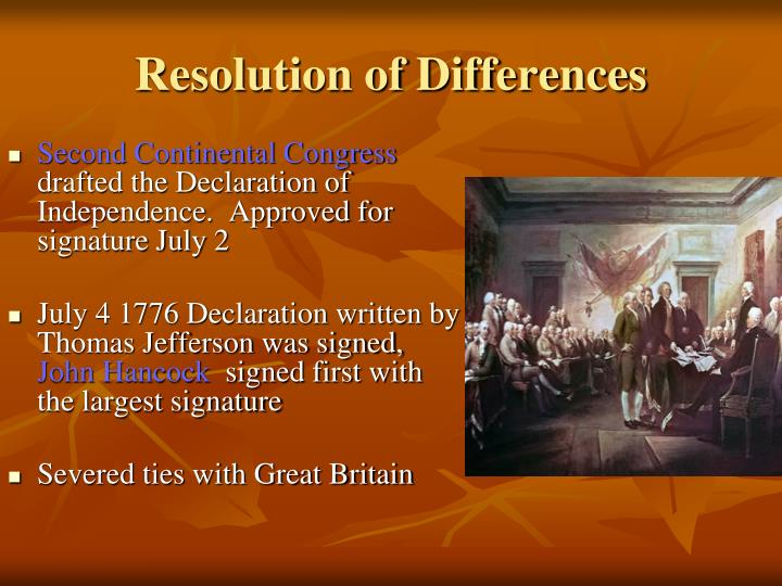Resolution of Differences