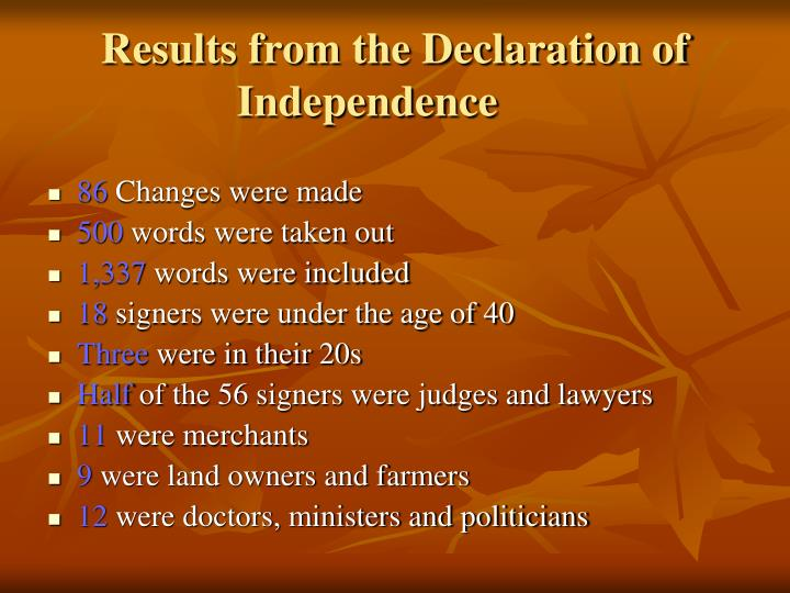 Results from the Declaration of Independence