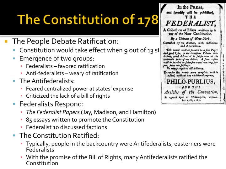 The Constitution of 1787 (Cont.)