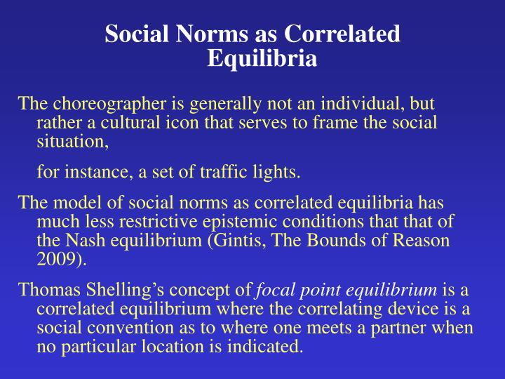 Social Norms as Correlated Equilibria