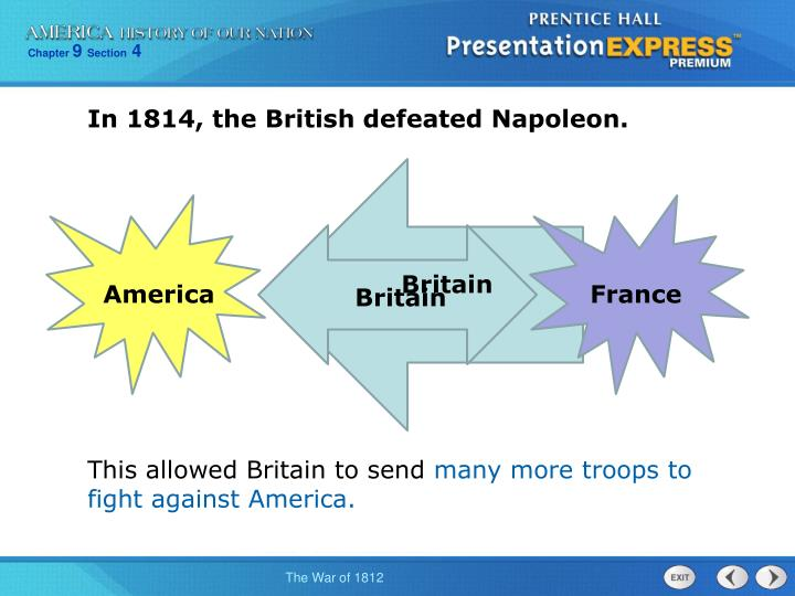 In 1814, the British defeated Napoleon.