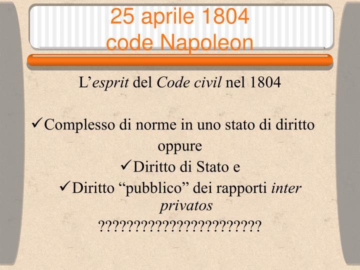 25 aprile 1804