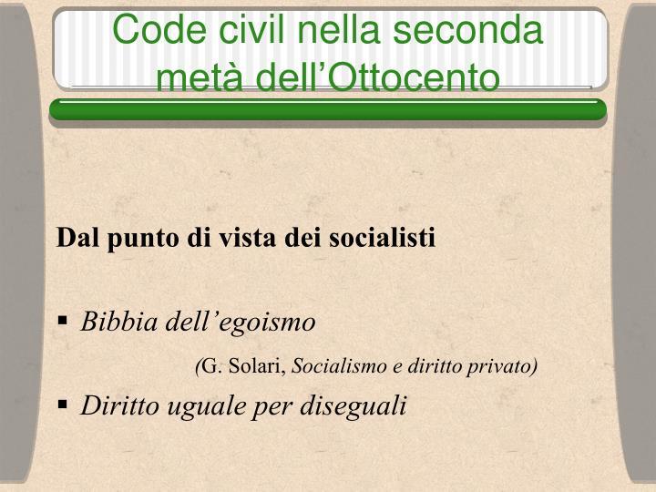 Code civil nella seconda metà dell'Ottocento