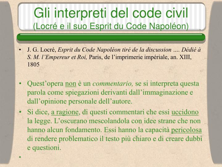 Gli interpreti del code civil