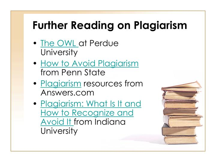 Further Reading on Plagiarism