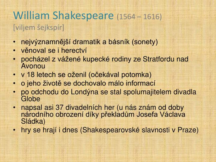 William shakespeare 1564 1616 viljem ejksp r