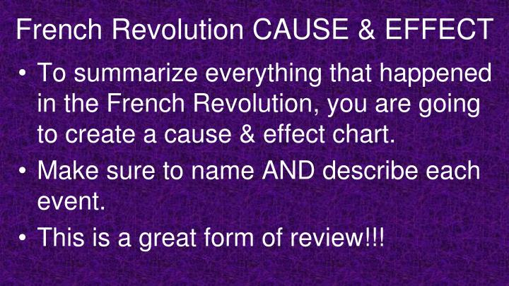 French Revolution CAUSE & EFFECT
