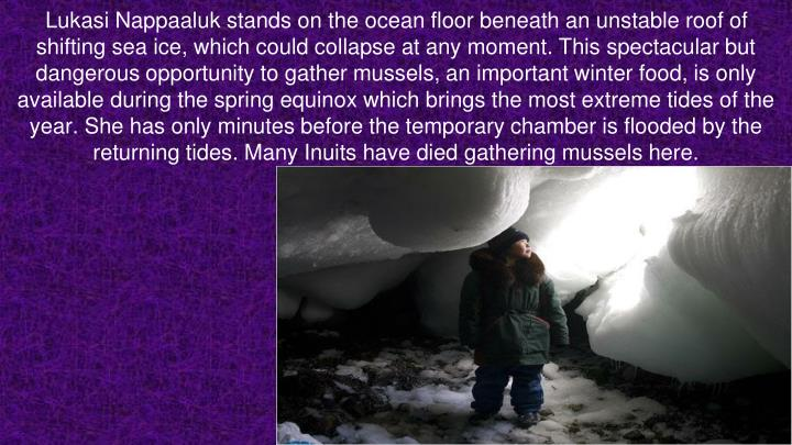 Lukasi Nappaaluk stands on the ocean floor beneath an unstable roof of shifting sea ice, which could collapse at any moment. This spectacular but dangerous opportunity to gather mussels, an important winter food, is only available during the spring equinox which brings the most extreme tides of the year. She has only minutes before the temporary chamber is flooded by the returning tides. Many Inuits have died gathering mussels here.